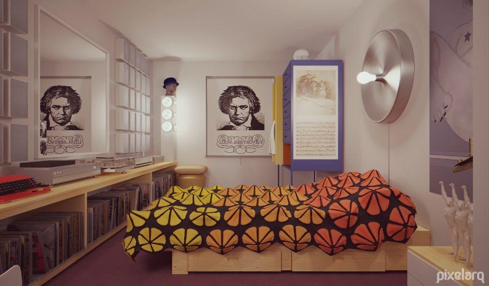 Alex De Large Bedroom 3D - Clockwork Orange   #Architecture #MaxwellRender #Rendering #3d #Blender3d #Render #Interiordesign