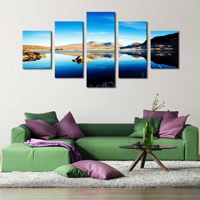 Leinwandbilder XXL - 60 wunderschöne Ideen für Wanddeko - Archzine - Wohnzimmer Modern Lila