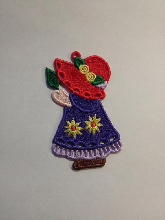 Red Hat FSL - Sun Bonnet Sue FSL - Red Hat Sun Bonnet Sue3 FSL- 4x4 embroidery design - Free Standing Lace - Red Hat Sun Bonnet Sue Ornament #sunbonnetsue