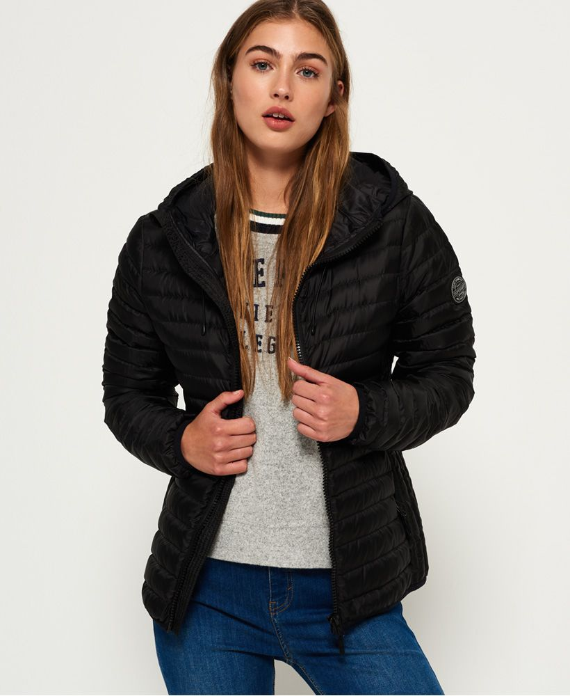 ad0321ae3782 Womens - Core Down Hooded Jacket in Black