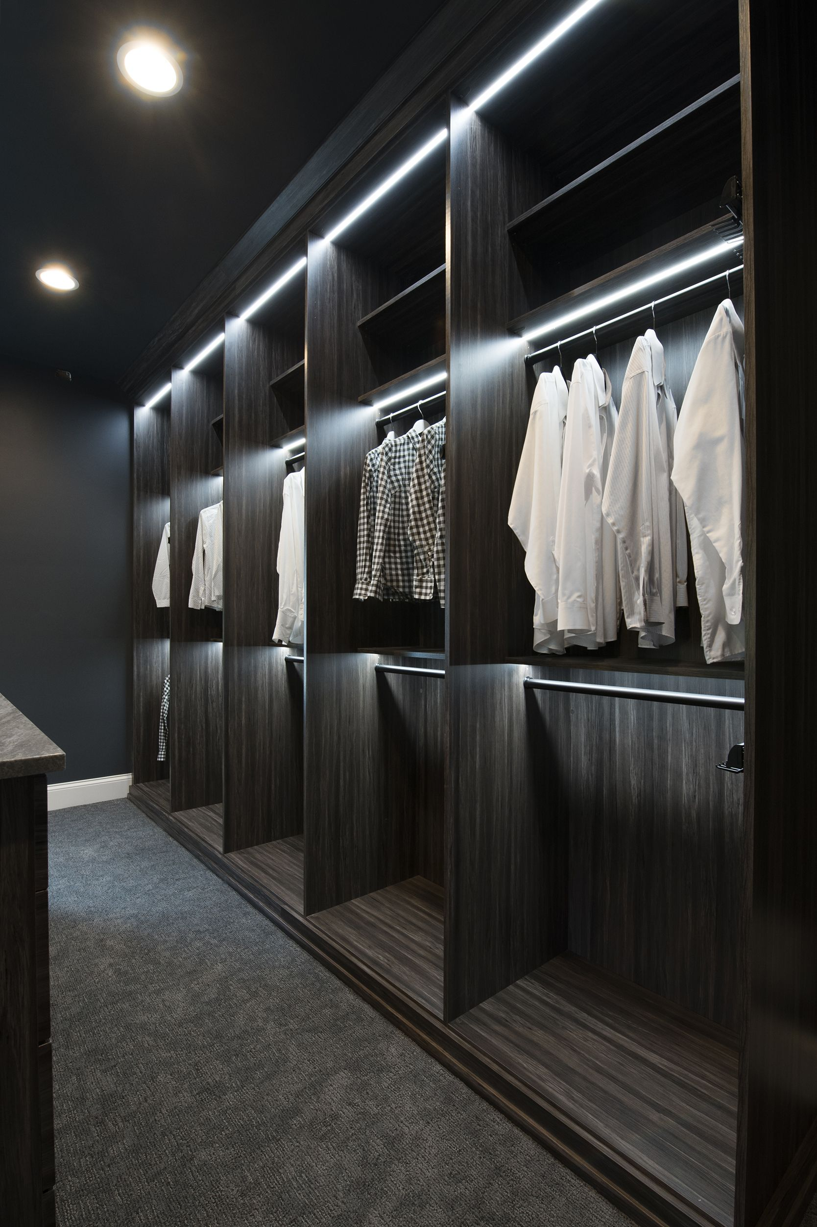Men S Closet With Led Strip Lights Hiscloset Organization
