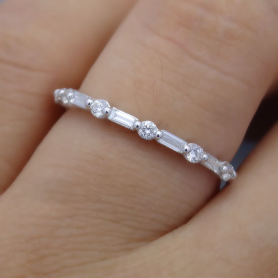 Full Cut Round And Baguette Diamond Band Wedding Ring Stacking
