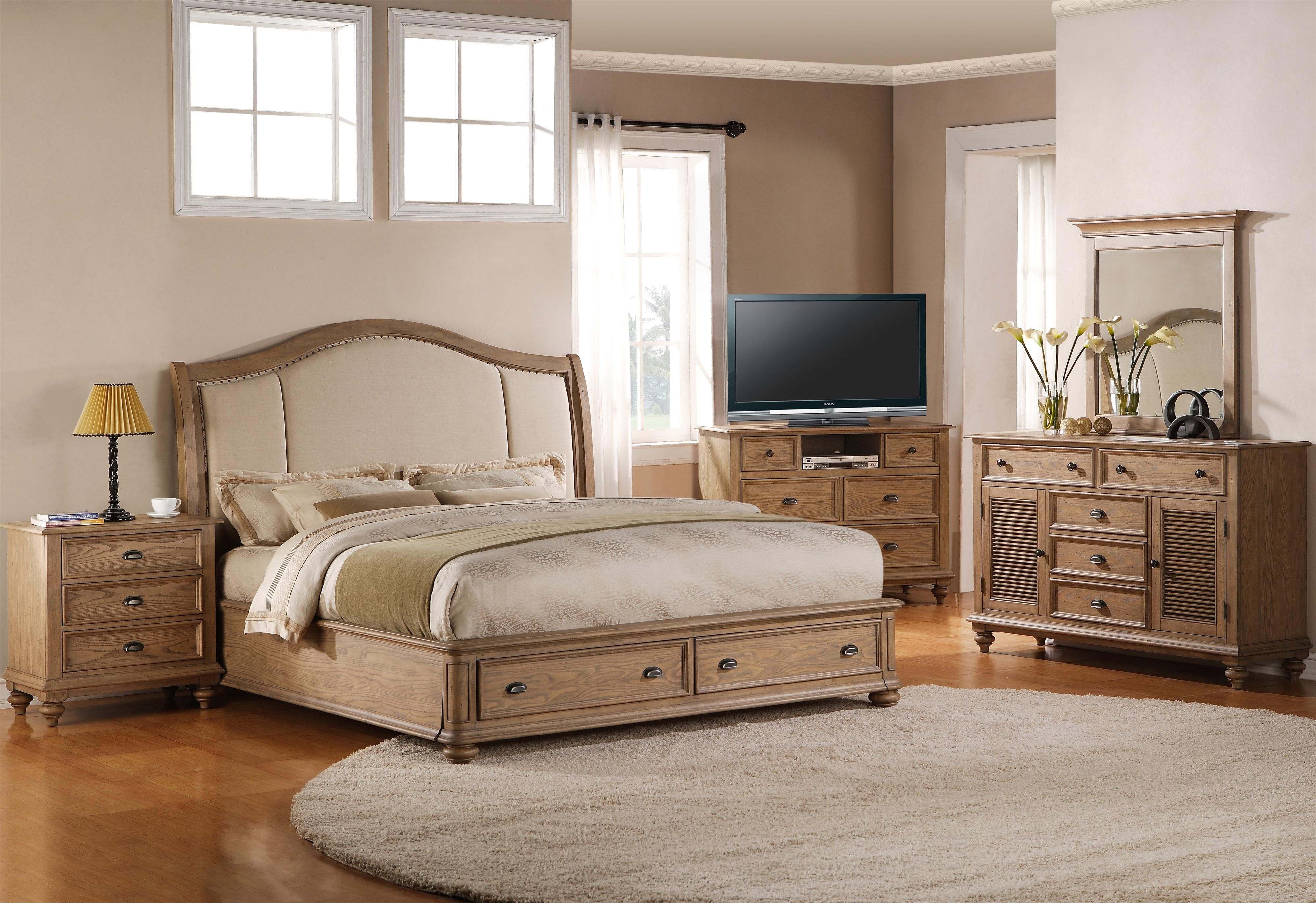 Full Queen Upholstered Headboard Bed With Storage