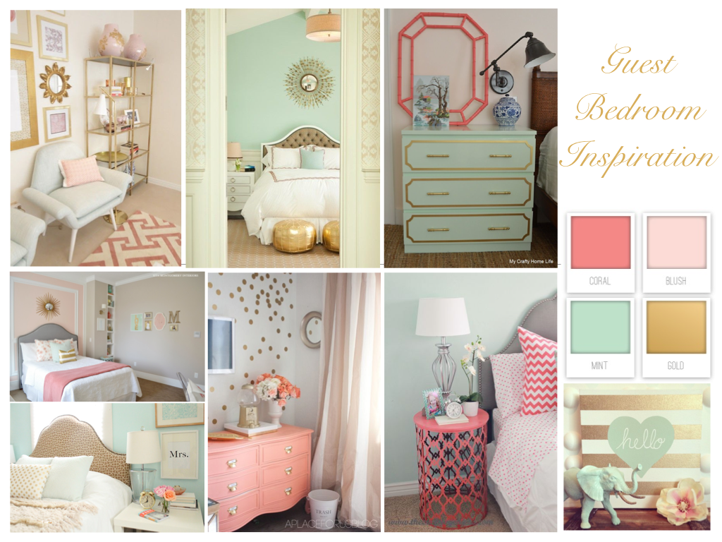 Guest bedroom inspiration coral mint and gold perfection mood boards collages pinterest for Light pink and mint green bedroom