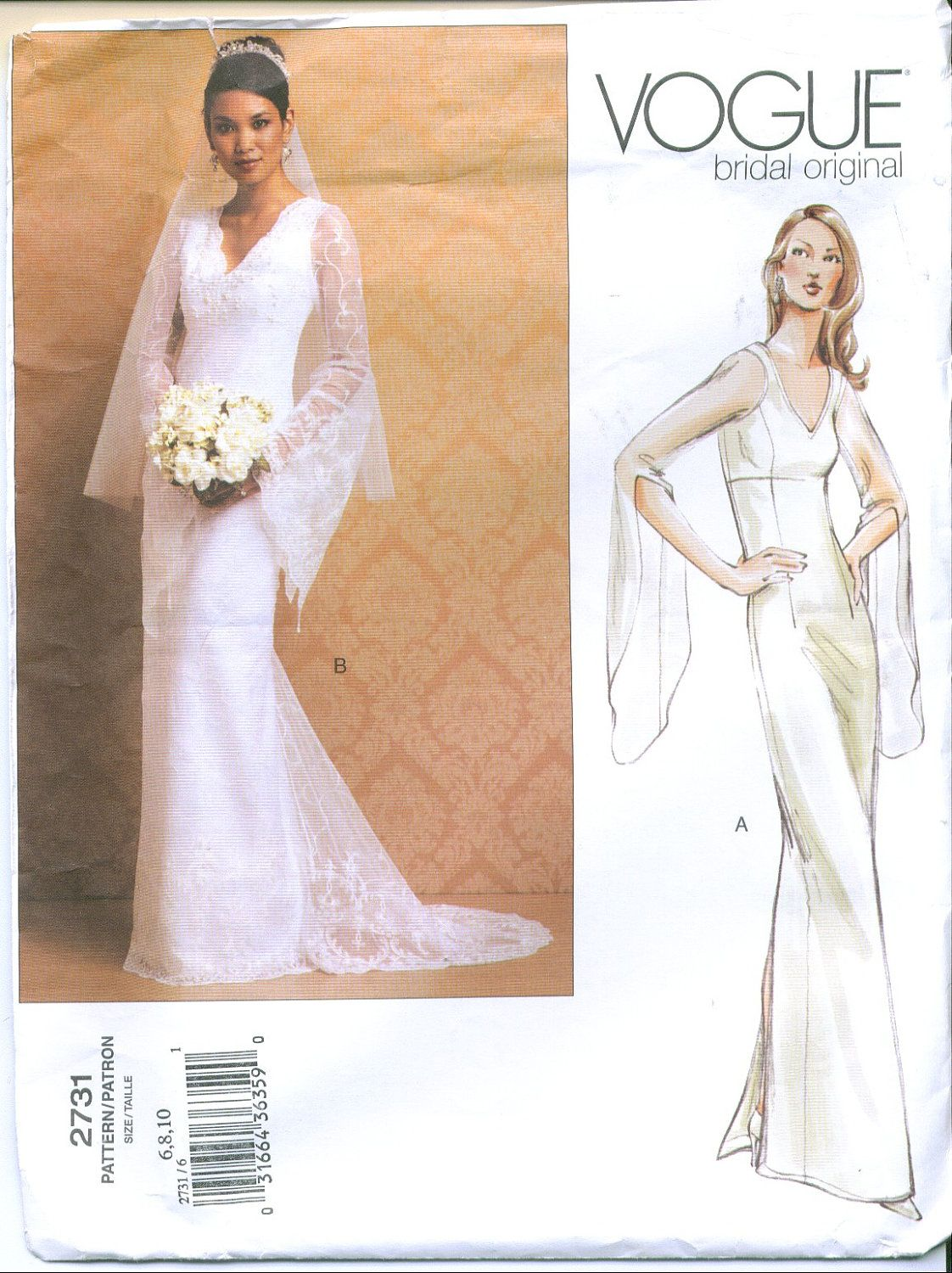 Vogue 2731 Bridal Wedding Gown Sewing Pattern Size 6 8 10 | Sewing ...