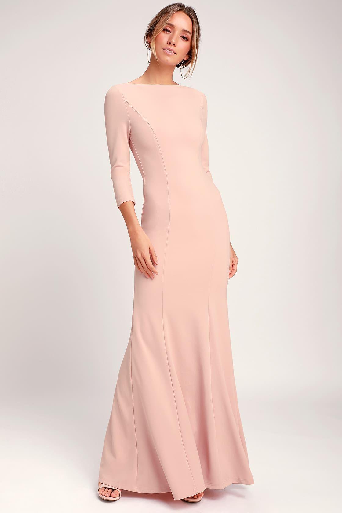 Glamour galore blush pink button back maxi dress long
