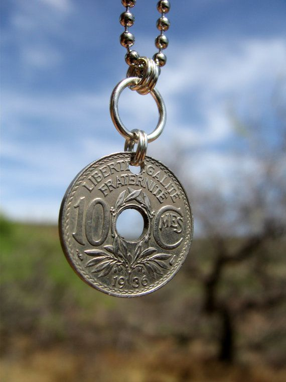 Coin Jewelry 1936 Republic Of France Coin Pendant World Coin Necklace Coin Jewelry Jewelry Coin Pendant