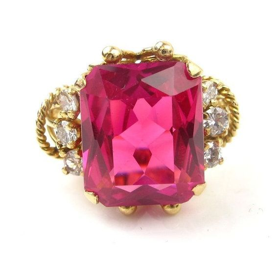 RETRO Ruby & Diamond Ring 18K Yellow Gold by ArnoldJewelers, $900.00