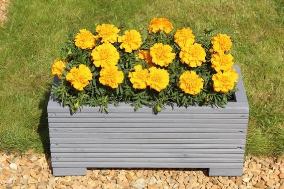Grey Wooden Garden Trough Planter Veg Bed Flower Plant Pots In Decking Boards #woodengardenplanters
