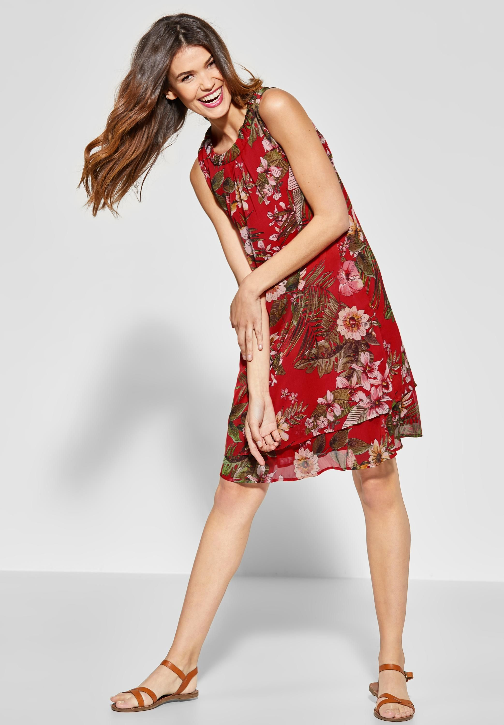 street one - print kleid im lagen-look in vivid red | sommer