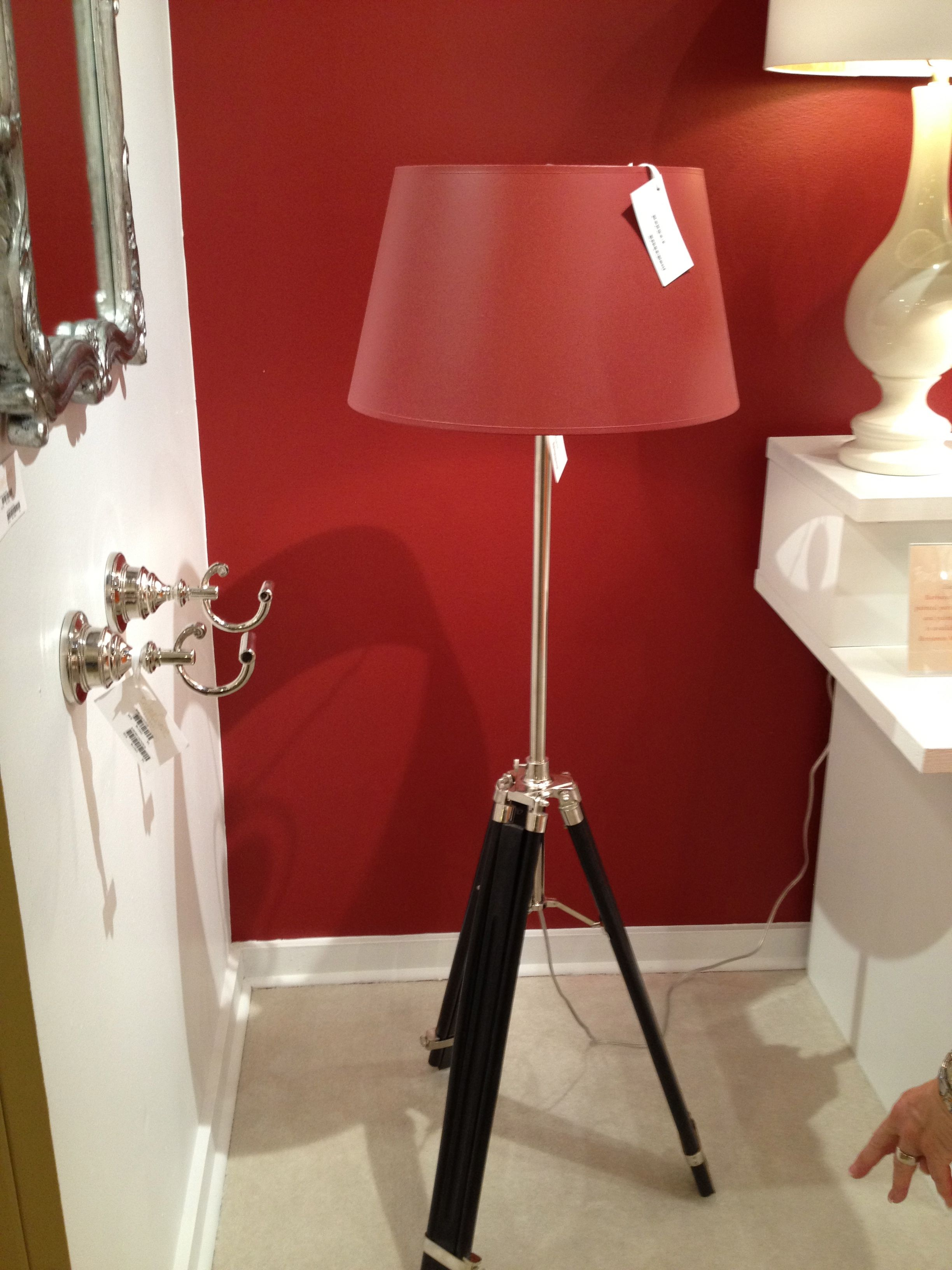 High Point Market 2012-Barbara Cosgrove's handsome tripod floor lamp with red shade.