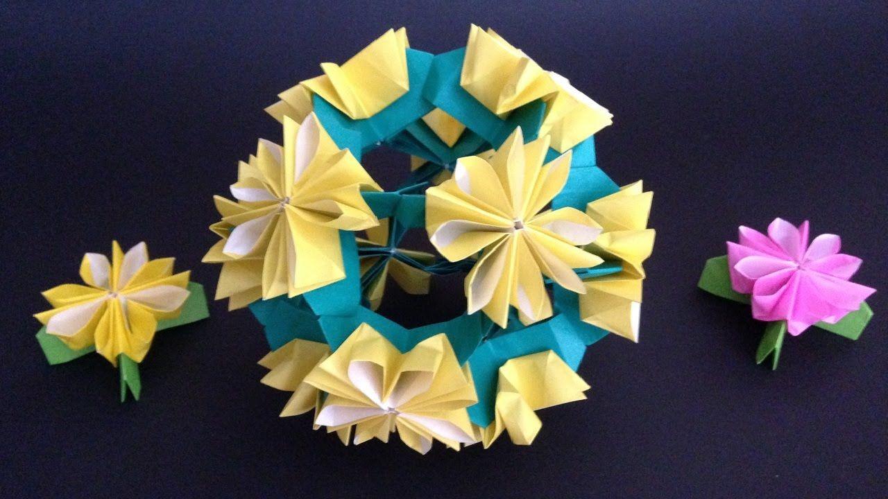 Montagem - Origami Kusudama Dandelion flower 12units instructions 折り紙のくす玉 たんぽぽ花12ユニ...