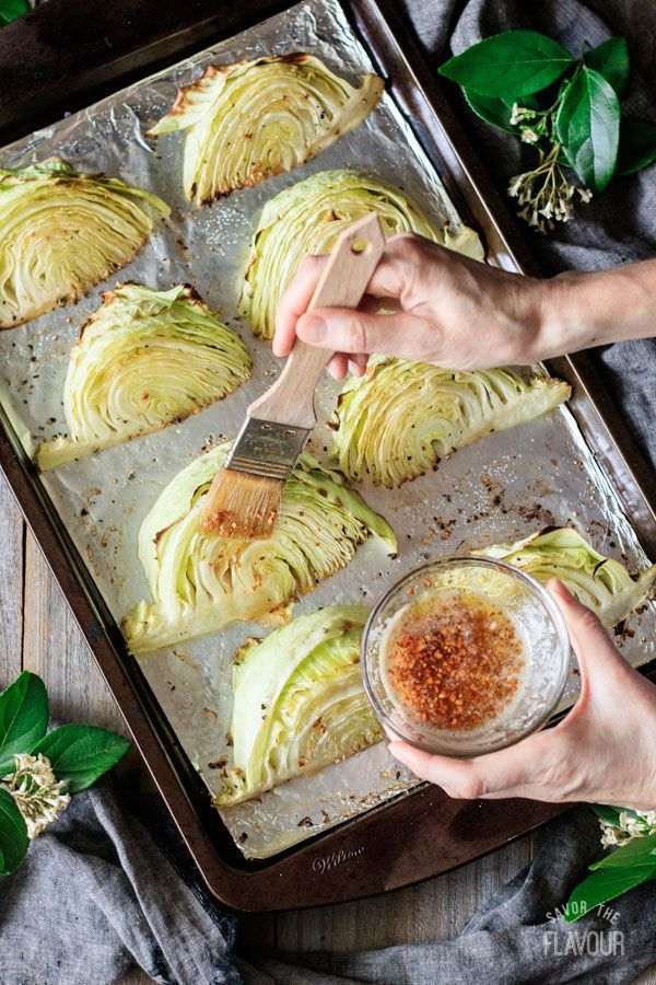 Roasted Cabbage Wedges with Lemon Garlic Butter -  Roasted Cabbage Wedges with Lemon Garlic Butter: