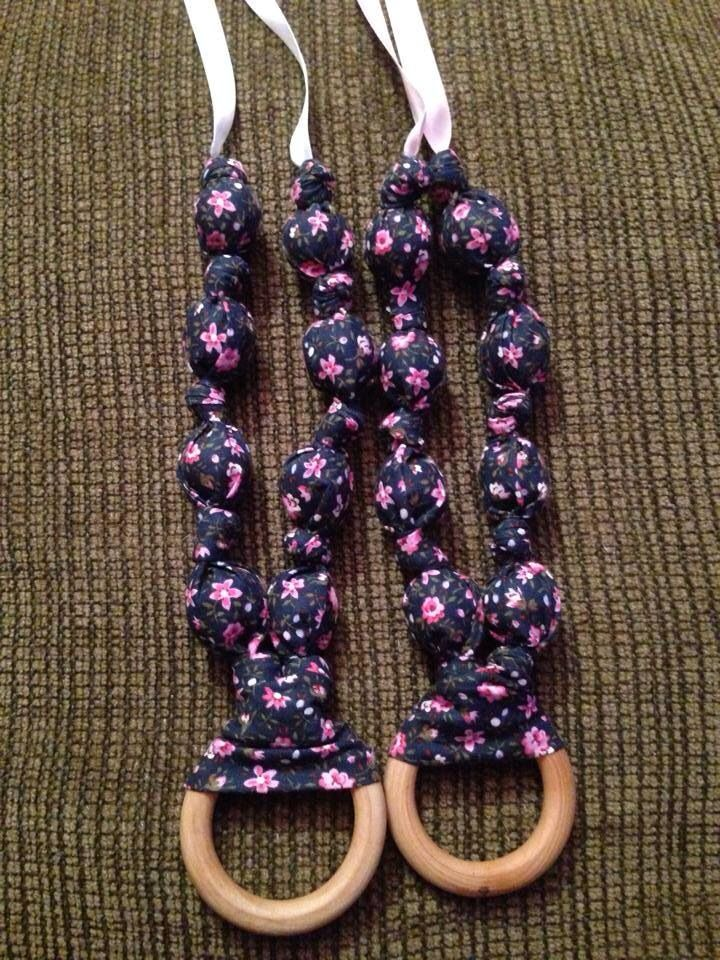Dark blue with pink flowers teething/nursing necklace $15 each
