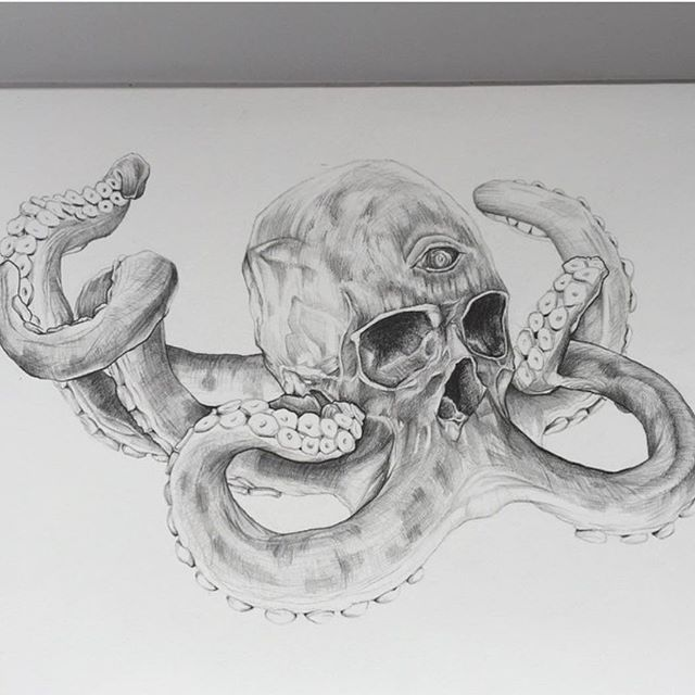 Here is an awesome sketch from @simonmillarart of my octoskull! For a closer look at the original sculpture checkout the custom gallery at http://bit.ly/1FjrXFx  by jackofthedust
