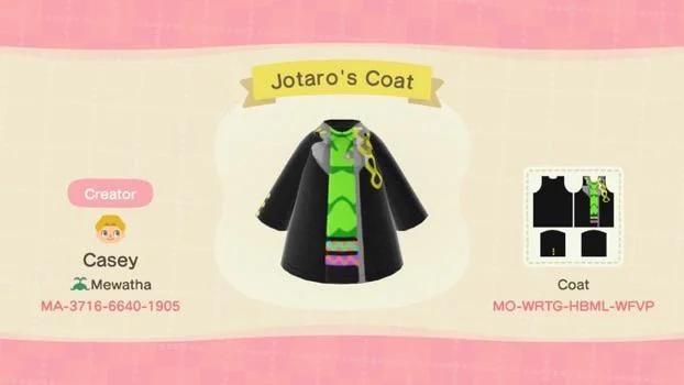 Jotaro S Coat Acqr In 2020 Animal Crossing Qr Animal Crossing