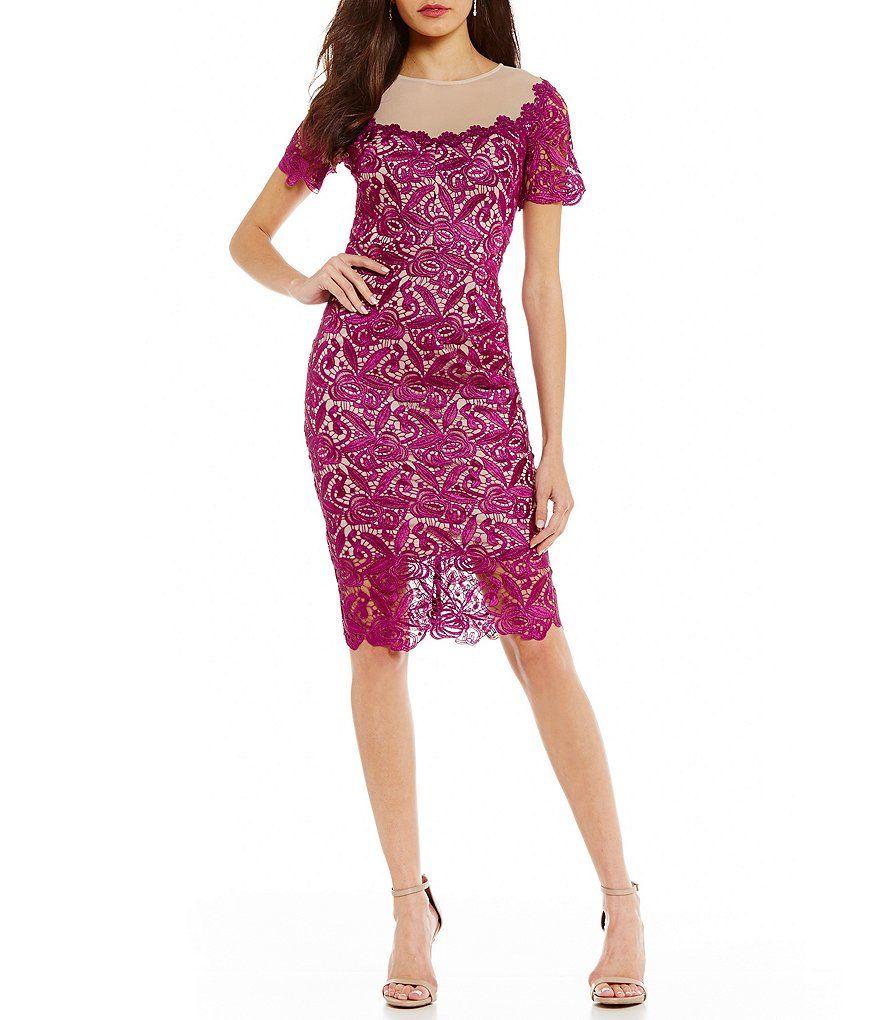 Tadashi shoji wedding guest dresses  Jax Illusion Lace Sheath Dress  Lace sheath dress and Illusions