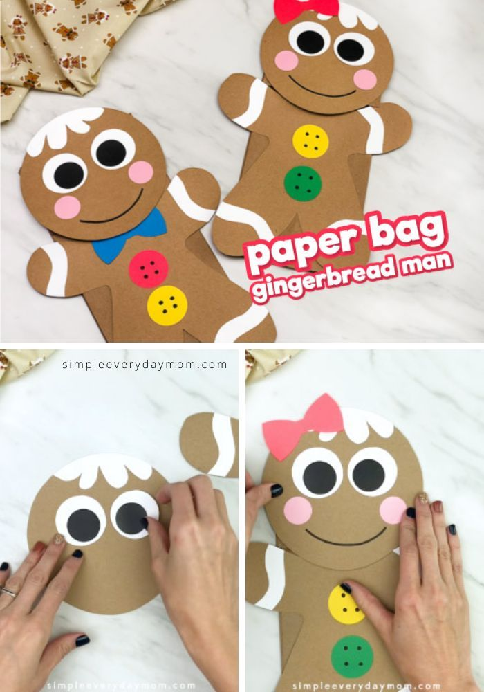 Learn how to make this cute and simple brown paper bag gingerbread man. It's a fun Christmas craft for preschool, prek and kindergarten children to make at home or at school. Download the free printable template today!  #simpleeverydaymom #gingerbreadmancrafts #kidscrafts #craftsforkids #kidsactivities #christmascrafts #xmascrafts