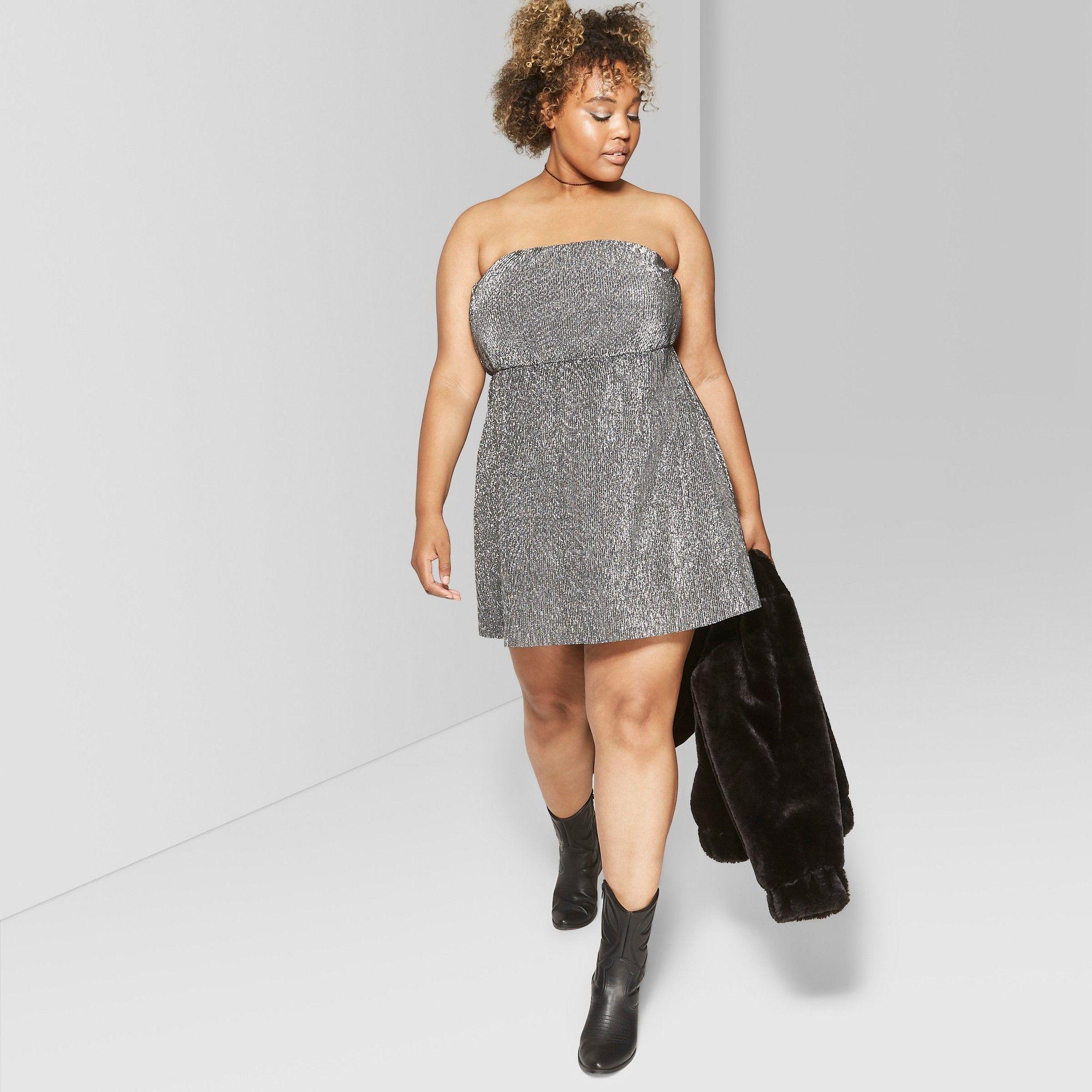 0ce895c7634 Women's Plus Size Strapless Knit Metallic Bodre Dress - Wild Fable ...