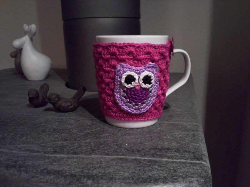 Tasse Mit Tassenwärmer Eule Pink Lila Von Schlaufen Maschen Auf