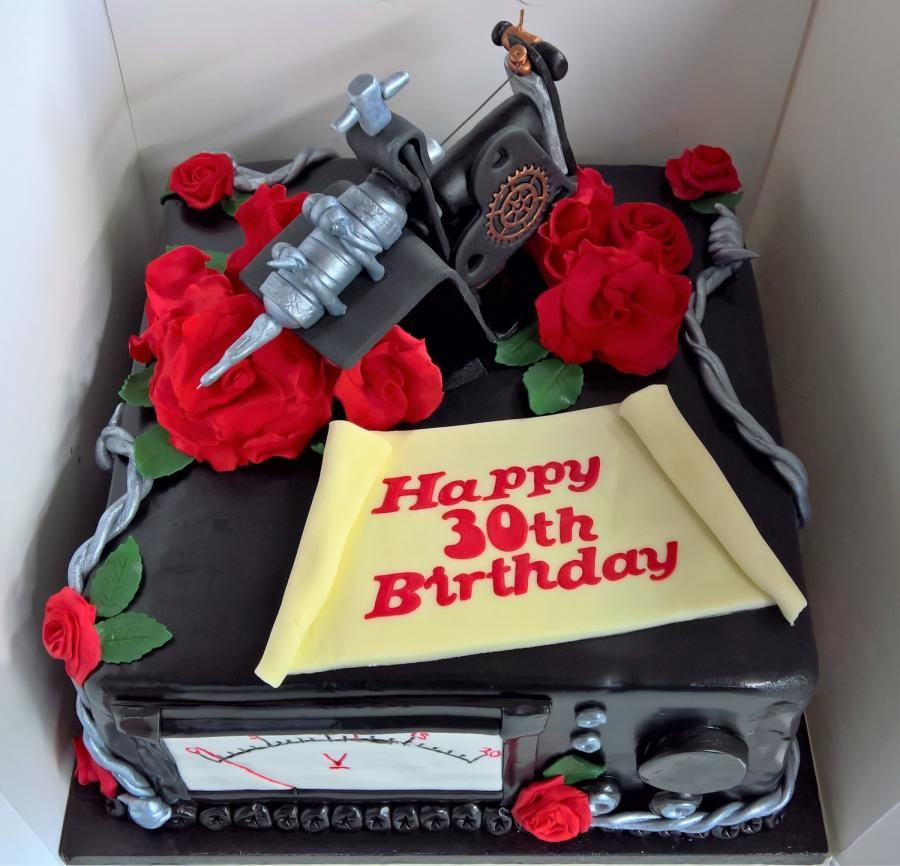 Brilliant Tattoo Machine By Claire Cowburn With Images Tattoo Cake Birthday Cards Printable Riciscafe Filternl