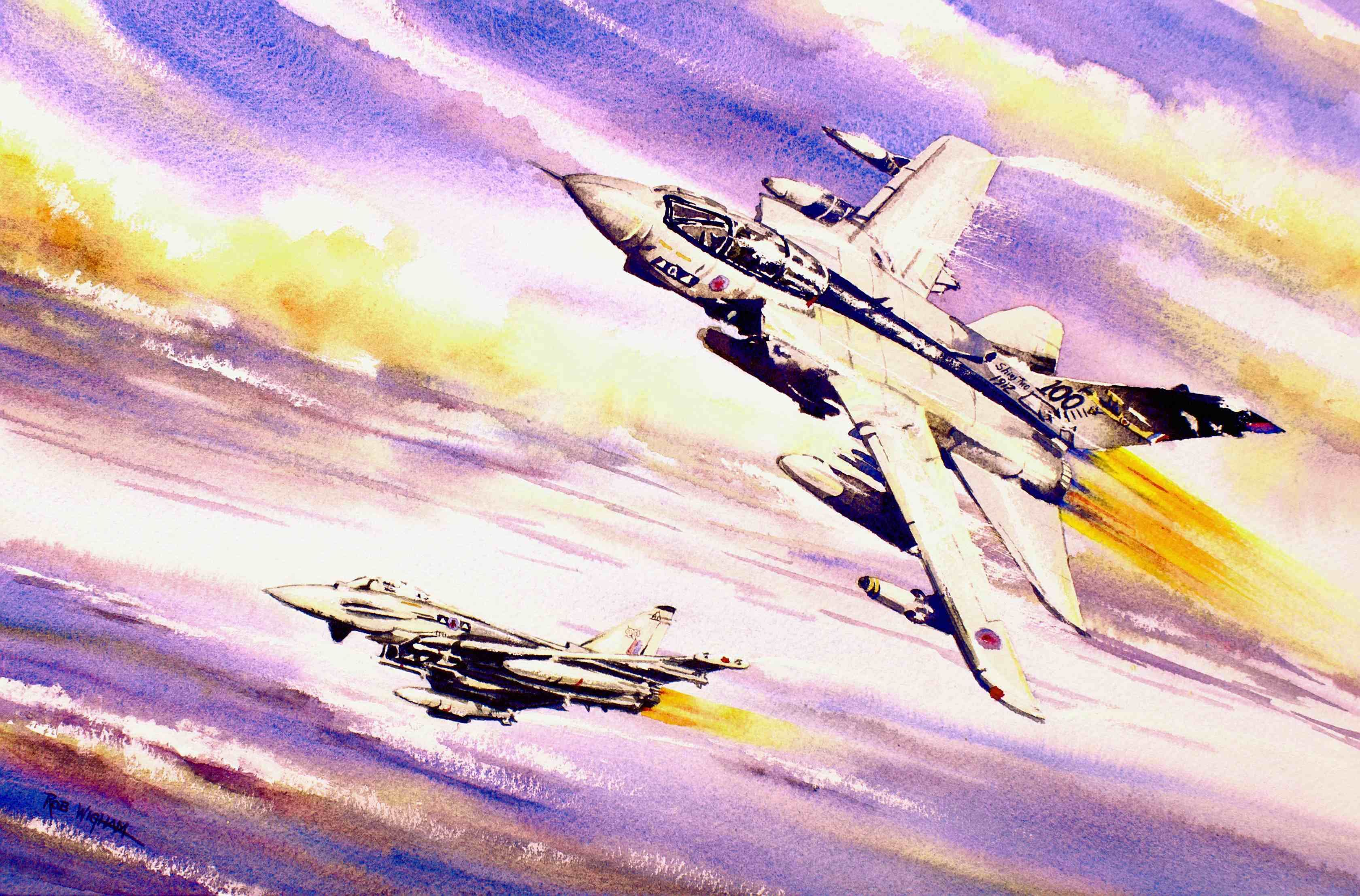 Shiny Twos Watercolour 50 X 32 Cm A Tornado Gr4 And A Typhoon