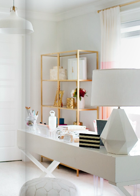 ikea vittsjo shelves spray painted gold ikea hacks. Black Bedroom Furniture Sets. Home Design Ideas