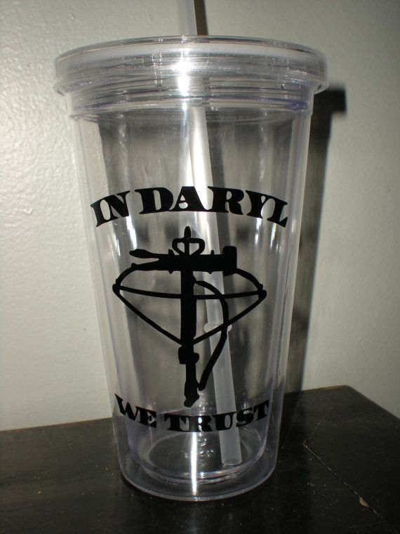 The Walking Dead Inspired Plastic Tumbler with Straw Clear or Blue on Etsy, $8.00