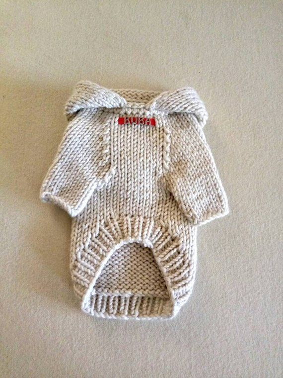Dog Hoodie Sweater \ Personalized dog sweater \ Pet Clothing \ Knitted dog sweater \ Handmade dog clothes – Puppy sweater – BubaDog