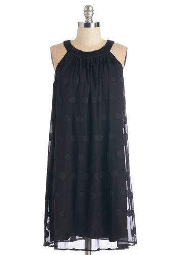 Spot-On Sweetness Dress - Black, Polka Dots, LBD, Shift, Sleeveless, Woven, Party, Vintage Inspired, 20s, Mid-length