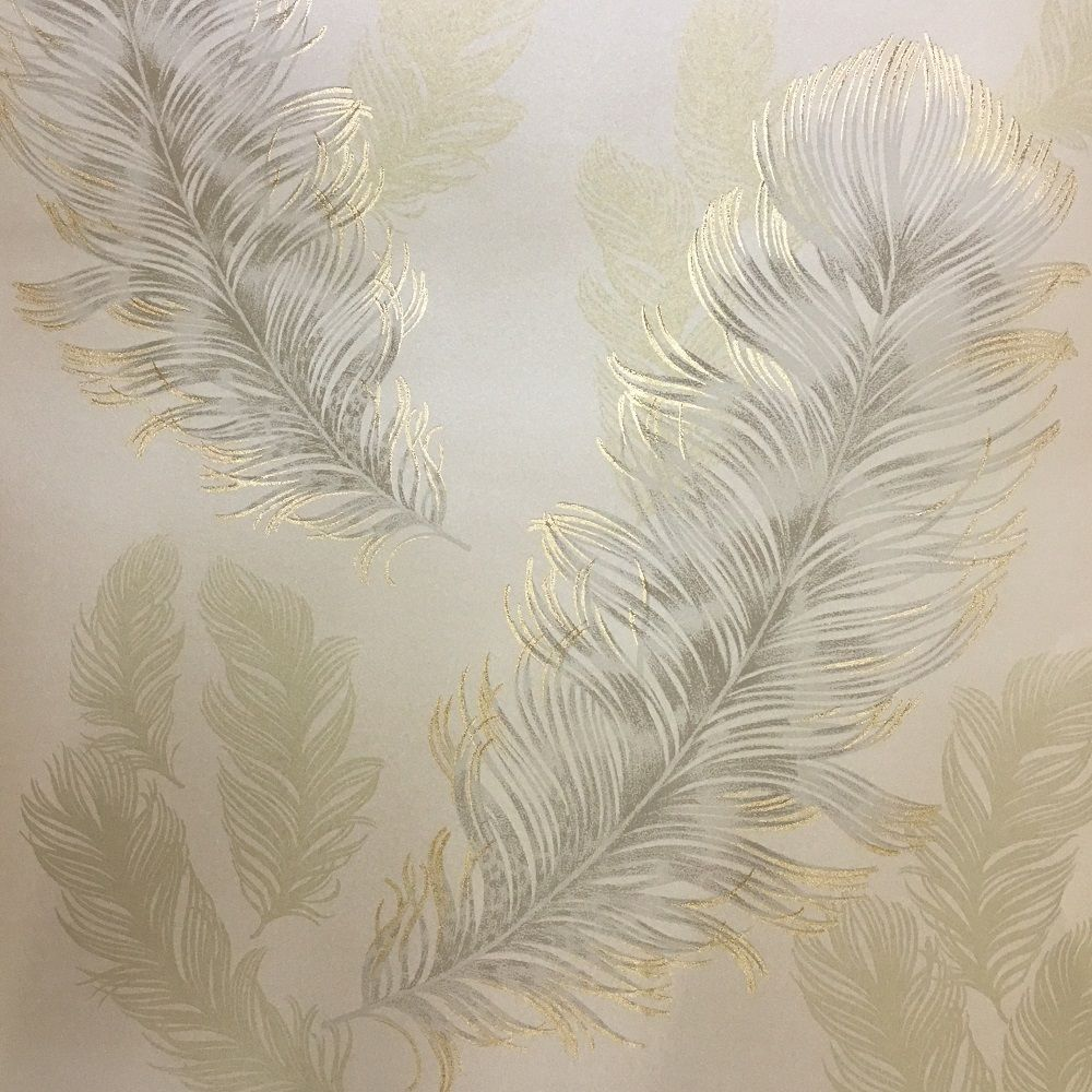 Arthouse sirius wallpaper gold 673601 an elegant feather for Gold wallpaper designs