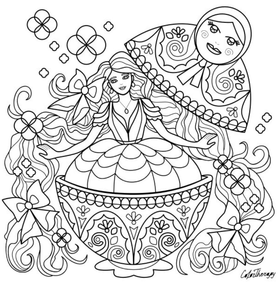 Matrioshka To Color With Color Therapy Http Www Apple Co 1mgt7e5 Colortherapyapp Coloring Color Therapy Coloring Books Free Coloring Pages