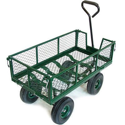 NEW Heavy Duty Metal Green Garden Cart Barrow