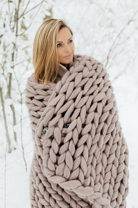 Chunky knit blanket throw blanket from giant yarn arm knit ... 1d85289ee53