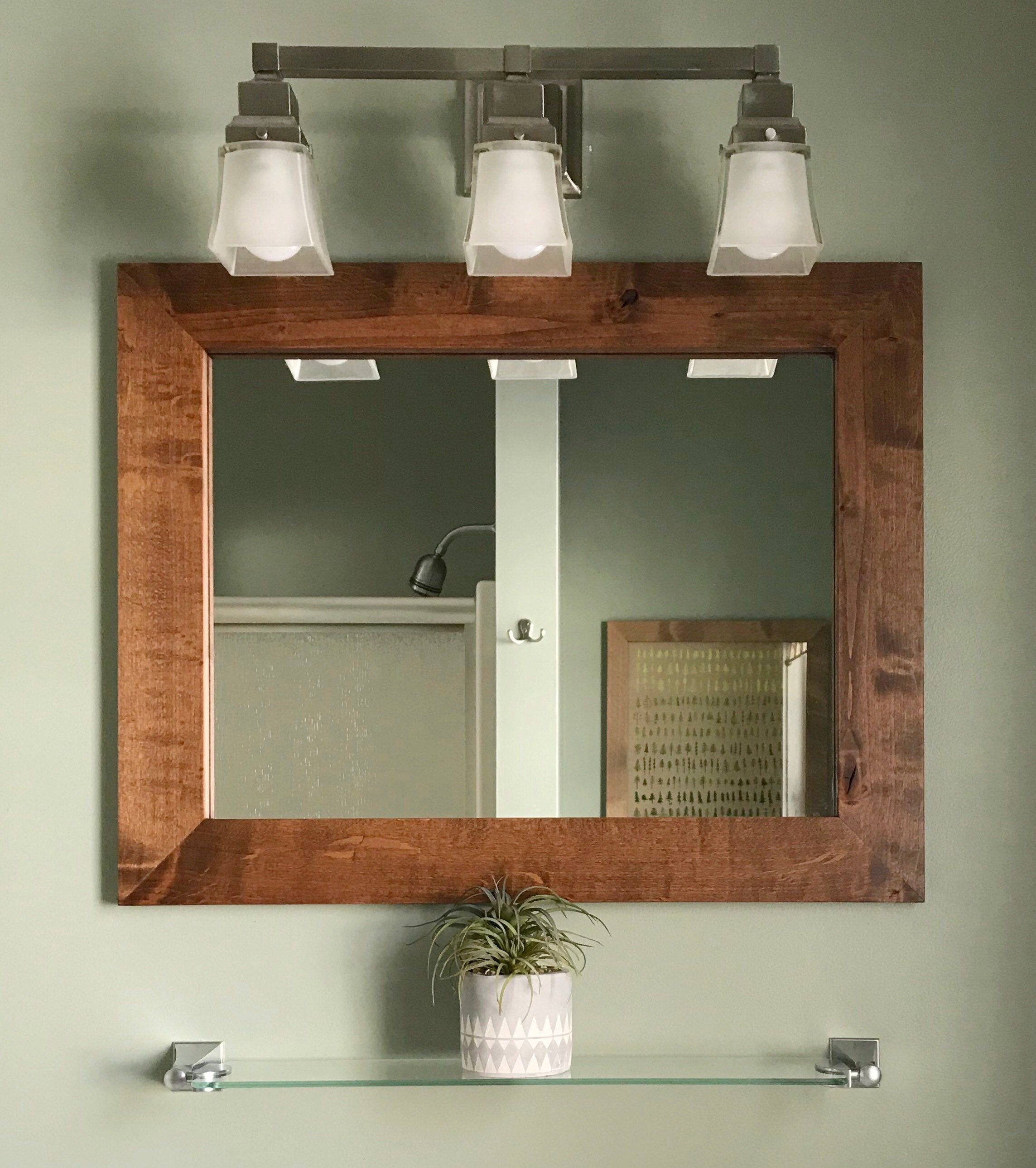 Vanity Mirror Contemporary Rustic Vanity Mirror Wooden Etsy In 2020 Rustic Vanity Diy Bathroom Decor Bathroom Mirror Frame