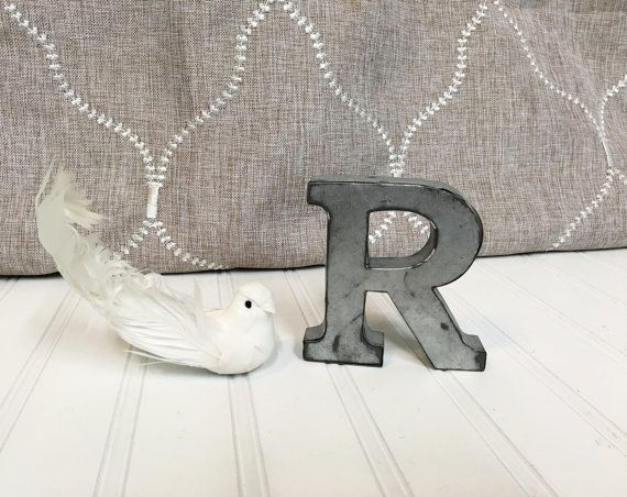small metal lettersletter r4 galvanized metal by theshabbystore