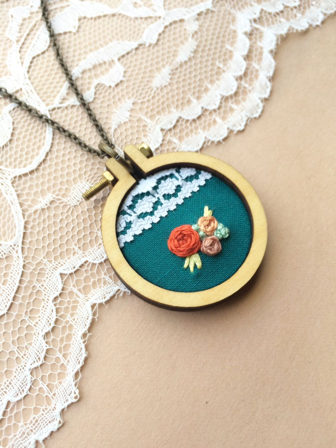 Hand Embroidered Mini Embroidery Hoop Necklace Featuring Vintage Lace: Dark Teal with Coral Roses // plaidlovethreads // Plaid Love Threads by PlaidLoveThreads on Etsy