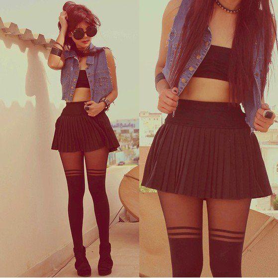 Pleated Cotton Skirt with High Waist - Oasap High Street Fashion