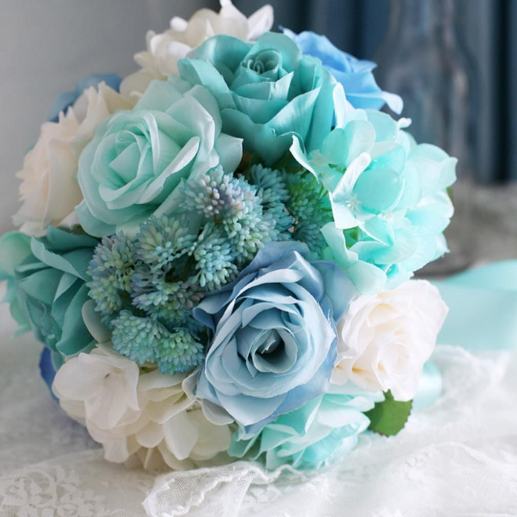 Baby Blue Light Mint Green Bridal Bouquet For Wedding White Purple Silk Roses Artificial Brooch Flowers