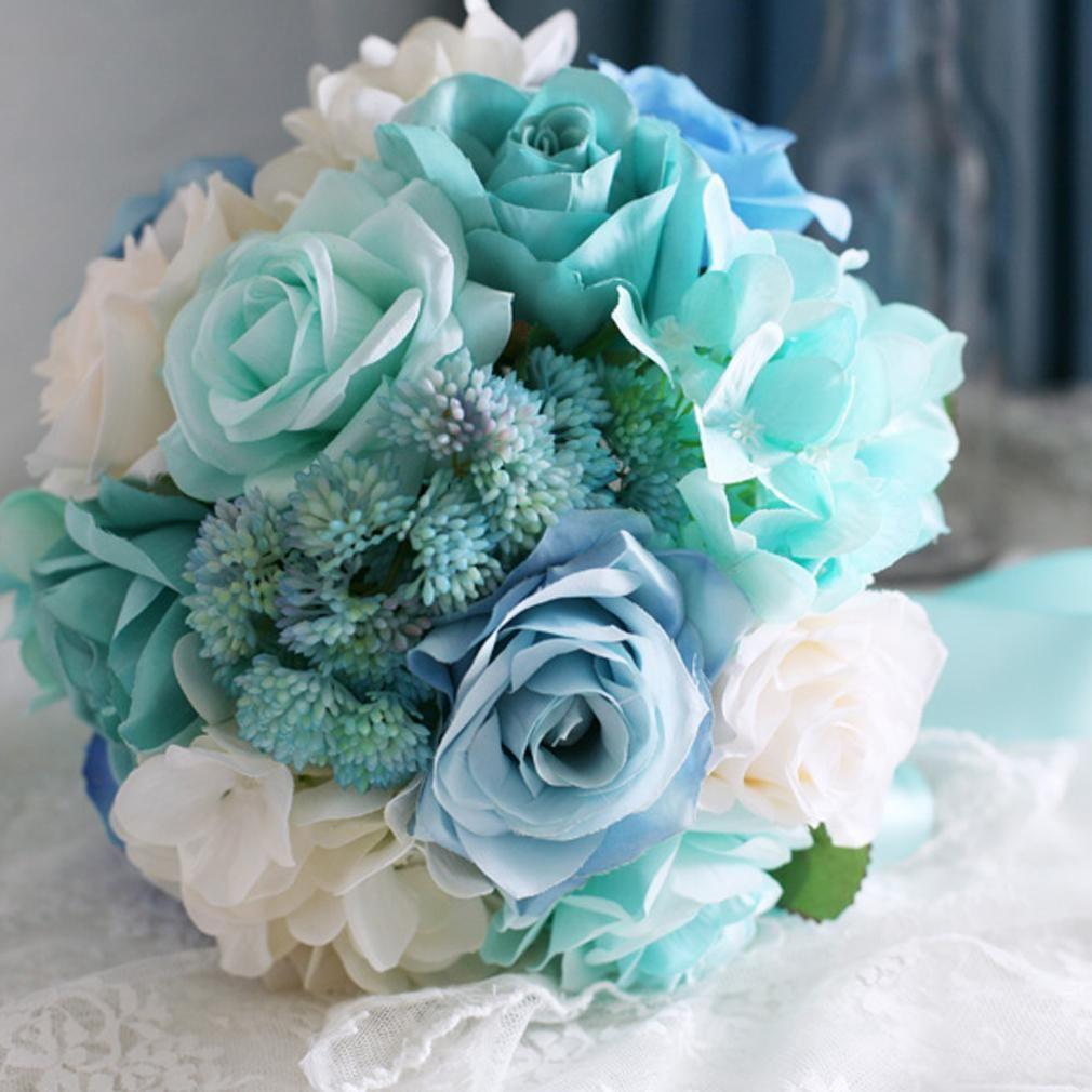 Mint Wedding Flowers: Baby Blue Light Mint Green Bridal Bouquet For Wedding