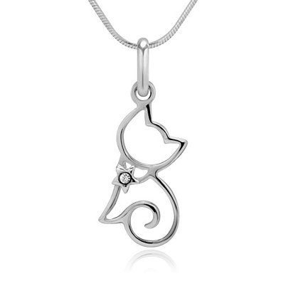 Cat Necklace /& Chain Platinum Plated Cubic Zirconia Pendant for Women Girls