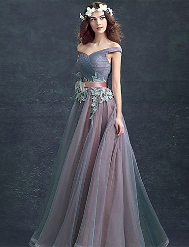 Off the Shoulder Floor Length Lace Prom Dresses