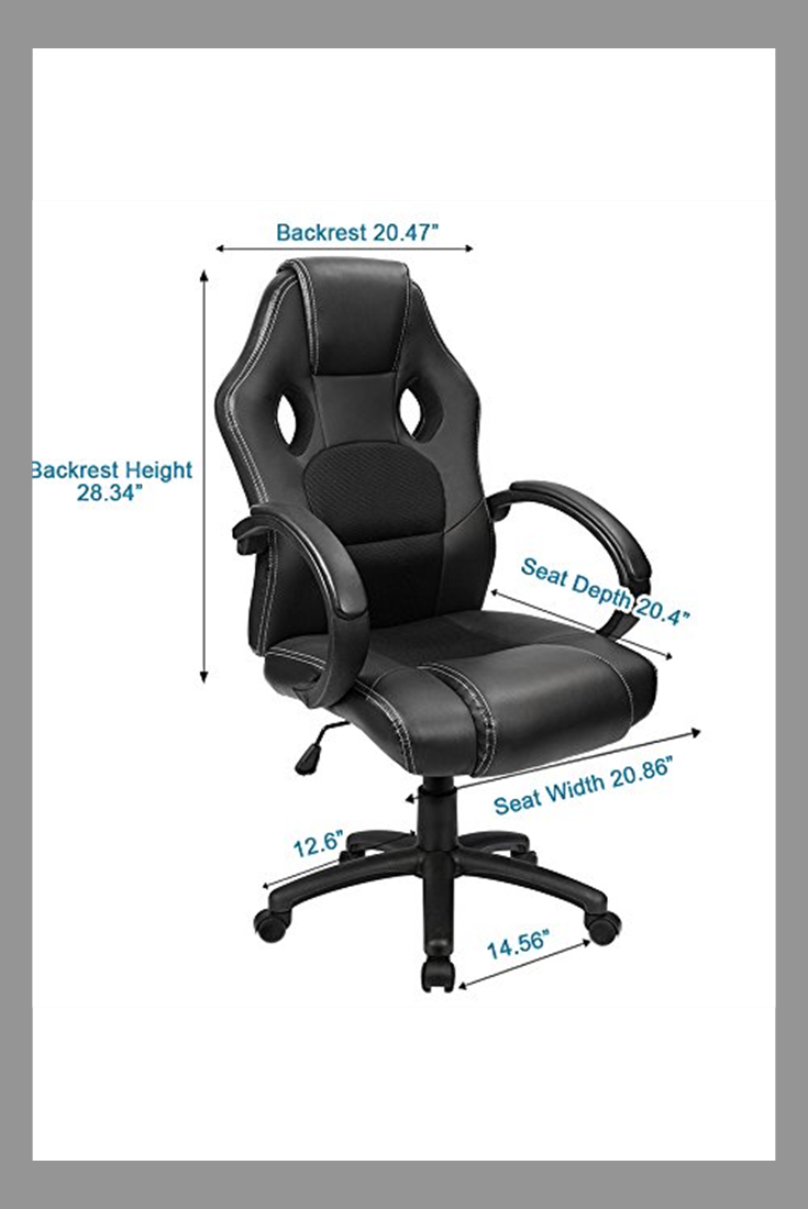 Furmax Office Chair Desk Leather Gaming Chair High Back Ergonomic Adjustable Racing Chair Task Swivel Executive Computer Chair Headrest And Lumbar Support Bla