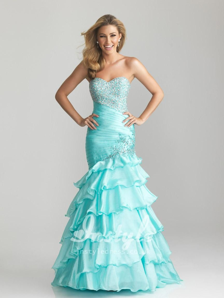 Blue Organza Strapless Long Dress