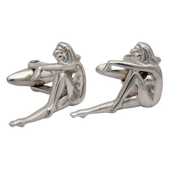 Etsy の Retro Pin-Up Girl Cufflinks Sterling Silver by dedalo