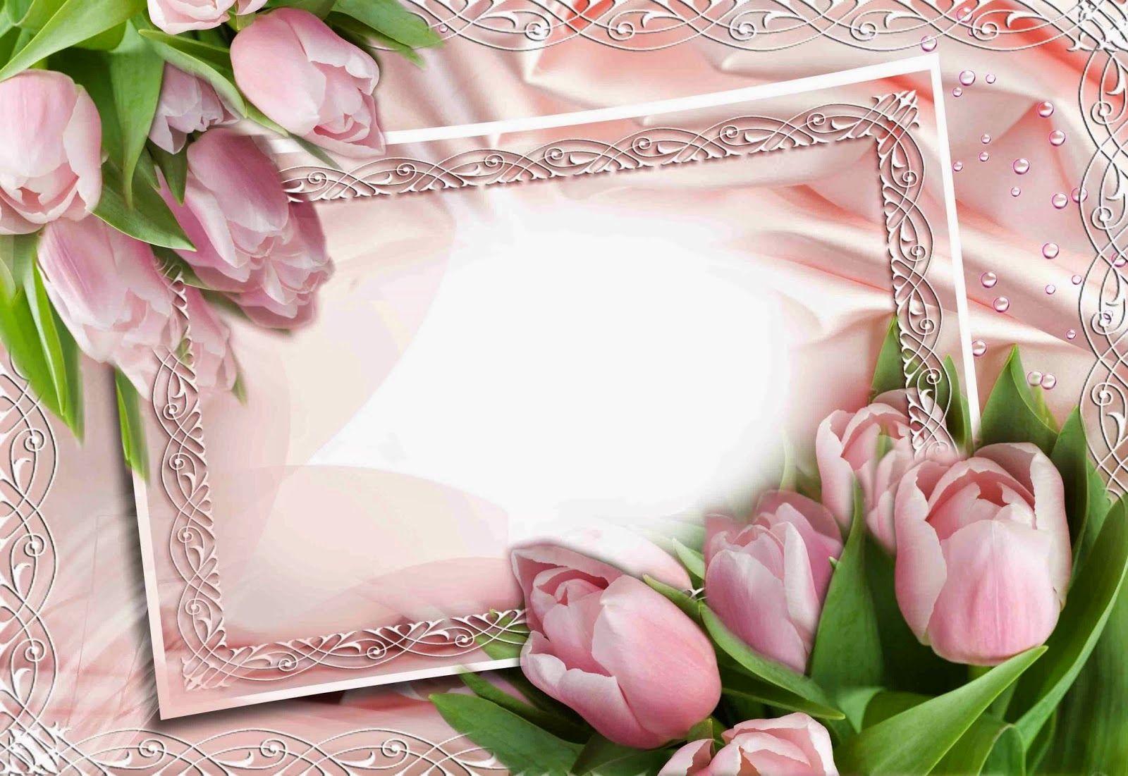 вставить фото в рамку с тюльпанами спальный