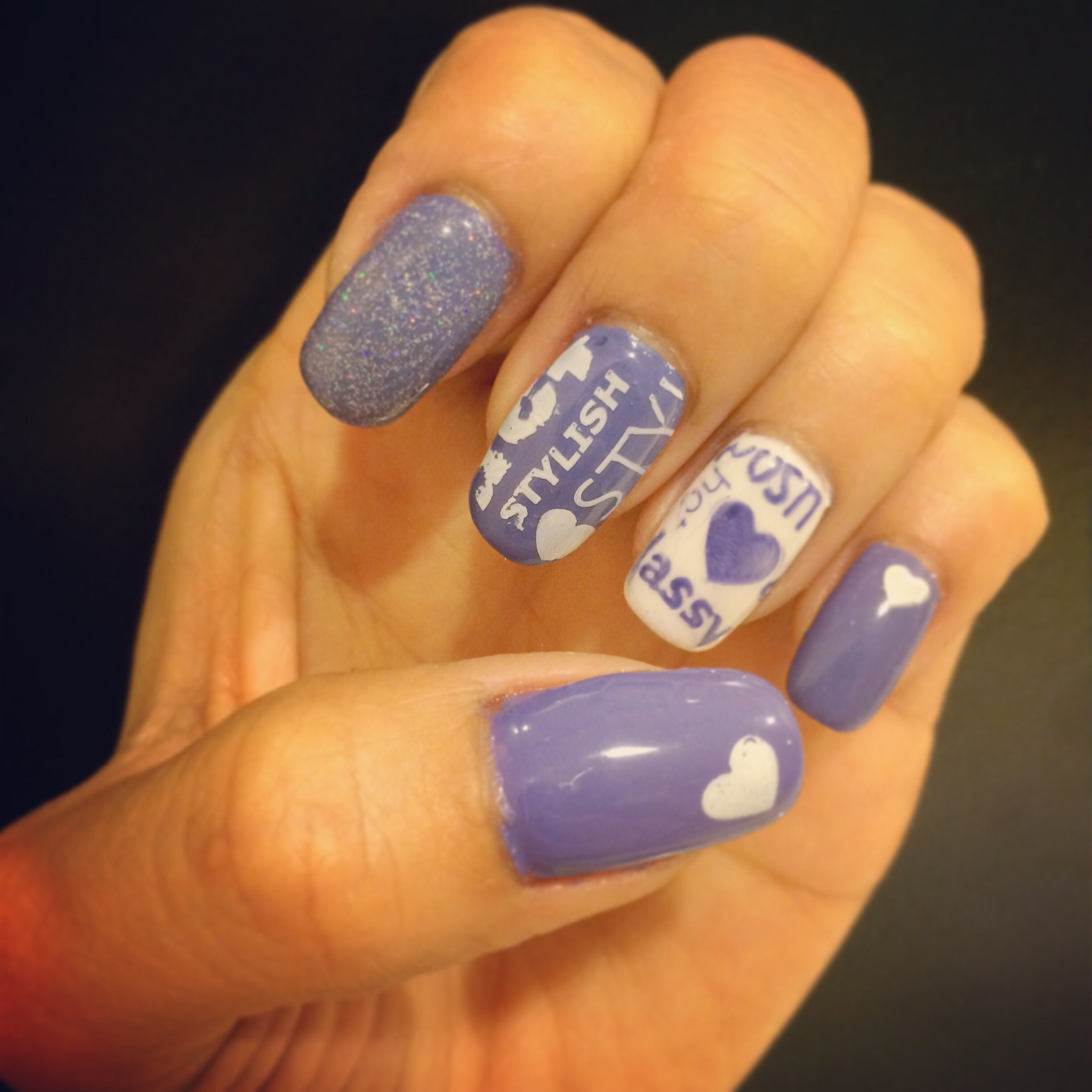 Purple Magazine Nails Using Gelish Polish And Pueen50 Stamping Plate