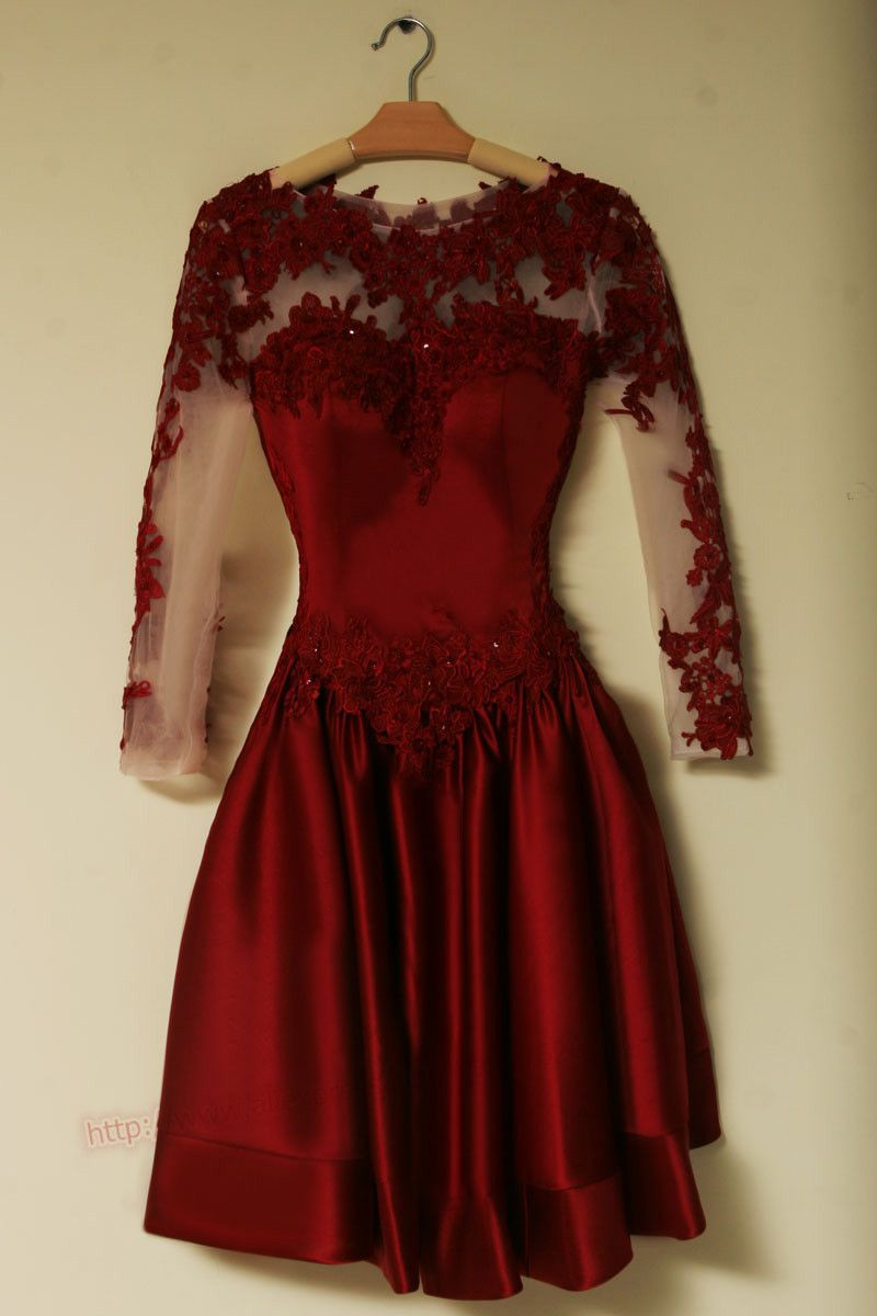 Elegant long sleeves burgundy soft satin short prom dress