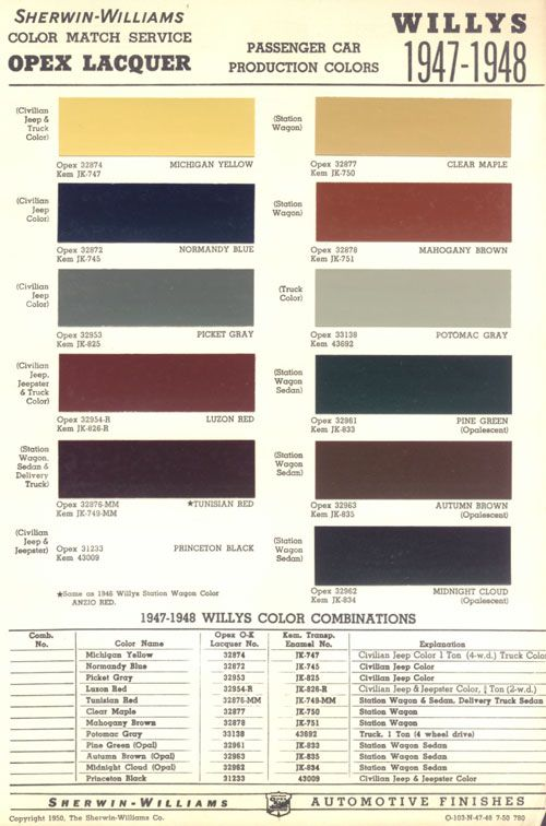 Jeep Willys Color Codes Willys Willys Jeep Jeep