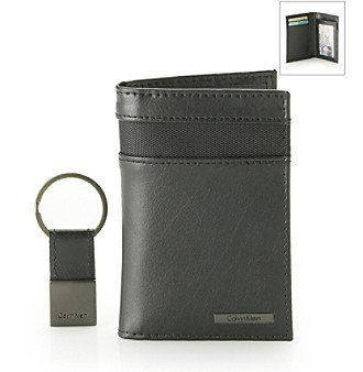 New Calvin Klein Men's Black Leather Trifold Passcase Wallet W/Key Fob Set  79418 Calvin